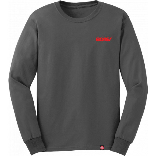 Bones Bearings Text L/S Gray